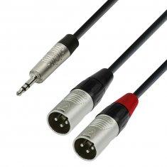 Câble Audio  Jack 3,5 mm stéréo vers 2 x XLR mâle 3 m