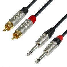 Câble Audio REAN 2 x RCA mâle vers 2 x Jack 6,35 mm mono 1,5 m