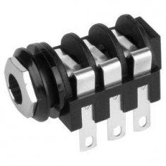 Embase Jack 6,35 mm stéréo à Coupure noir/chrome