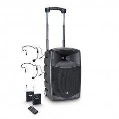 LD Systems ROADBUDDY 10 BPH 2 - Battery-Powered Bluetooth Speaker with Mixer, 2 Bodypack and 2 Headsets