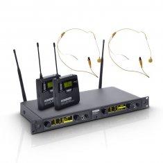 LD Systems WIN 42 BPHH 2 B 5 - Système de Micro sans Fil avec 2 x Émetteur Ceinture et 2 x Micro Serre-tête couleur beige