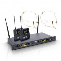LD Systems WIN 42 BPHH 2 - Système de Micro sans Fil avec 2 x Émetteur Ceinture et 2 x Micro Serre-tête couleur beige