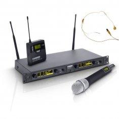 LD Systems WIN 42 HBHH 2 - Système de Micro sans Fil avec Émetteur Ceinture, Micro Serre-tête couleur beige et Micro Main dynamique